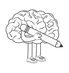Human brain holding pencil icon vector