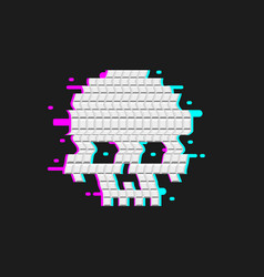 Human skull glitch effect distortion cranium vector
