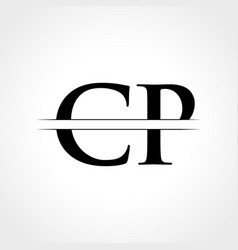 initial cp letter logo with creative modern vector image
