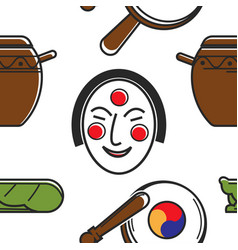 korean symbols and culture seamless pattern vector image
