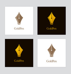 Luxury pen logo set vector