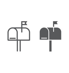 mail box line and glyph icon letter and post vector image