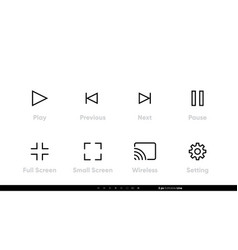 media player editable line icons vector image