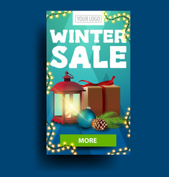 modern blue vertical winter discount banner with vector image