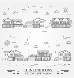 Neighborhood with homes thin vector
