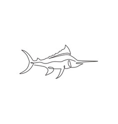 One continuous line drawing big wild marlin vector