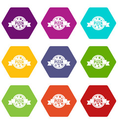pizza label with ribbon icon set color hexahedron vector image