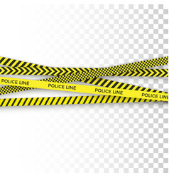 Police yellow tape danger zone with line barrier vector