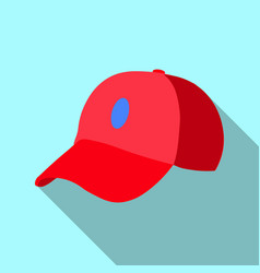 red baseball cap icon flat of red vector image