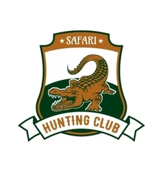 Safari hunting club badge with alligator croc vector
