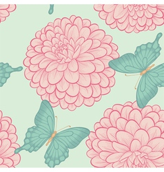 Seamless background with butterflies and dahlias vector