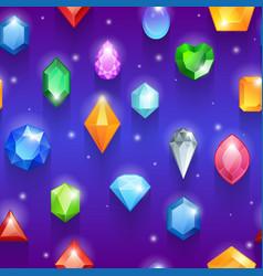 Seamless colorful gemstones pattern diamonds vector