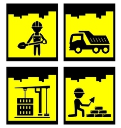 set construction yellow icons set vector image