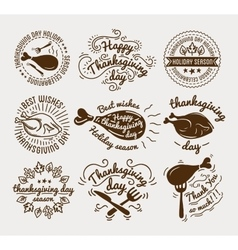 set labels design template to thanksgiving day vector image