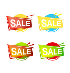 Set of colorfull sale banner and emblem icons vector