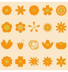 set orange flowers on bright background vector image