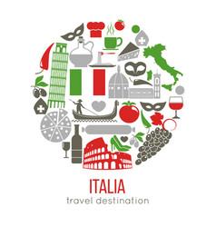 Set rome italy symbols italian vector