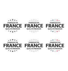 set six french icons symbols made in france vector image
