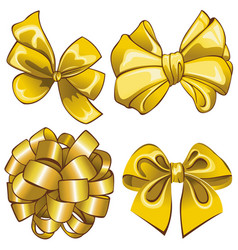 set with golden bows vector image