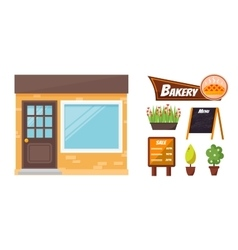 Shop facade elements set vector