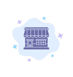 shop online market store building blue icon on vector image