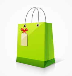 Shopping green paper bag vector