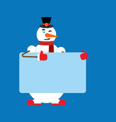 snowman holding banner blank place for text new vector image