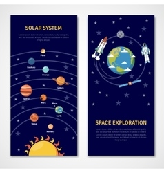 Solar system and space exploration banners vector