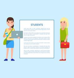 students school girls students blonde brunette vector image