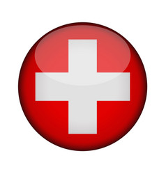 Switzerland flag in glossy round button of icon vector