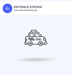 taxi icon filled flat sign solid vector image