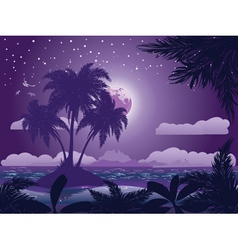 Tropical island at night vector image