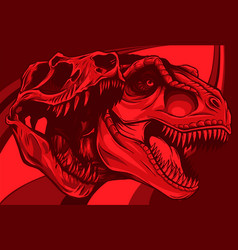 Tyrannosaurus rex with skull fossil vector