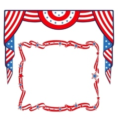 US Flag patriotic border template vector
