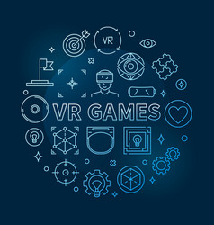 vr games round concept blue outline vector image