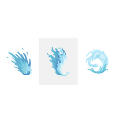 water splash blue water waves set wavy liquid vector image