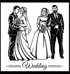Wedding couple silhouette groom and bride vector