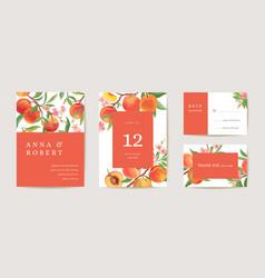 wedding peach invitation card vintage botanical vector image