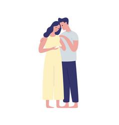 Young future parents hugging flat vector