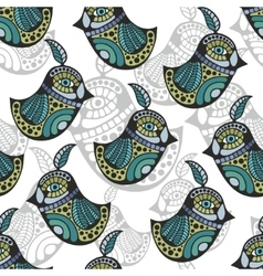 Artistic pattern with colorful retro birds vector image vector image