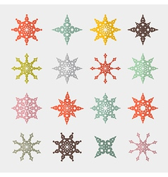 Colorful Retro Cut Paper Stars Set vector image