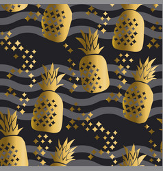 concept gold luxury pineapple seamless pattern vector image vector image