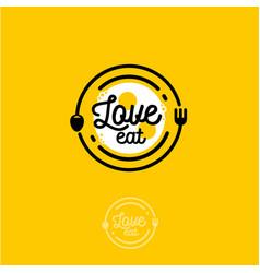 love eat logo cafe or restaurant emblem vector image