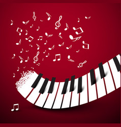 piano keys keyboard with notes music symbol on vector image vector image