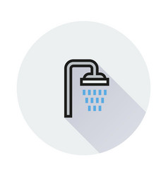 shower icon on round background vector image vector image