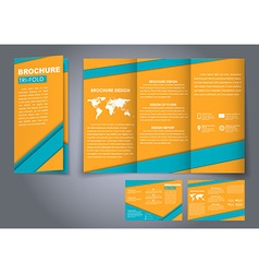Template triple folding brochures vector image