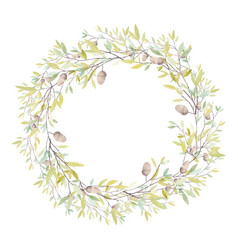 watercolor wreath with oak acorn and leaves vector image vector image