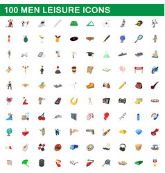100 men leisure icons set cartoon style vector image