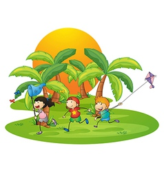 Kids playing in the island near the palm trees vector image vector image