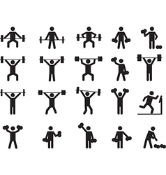 Pictogram people with weights vector image vector image